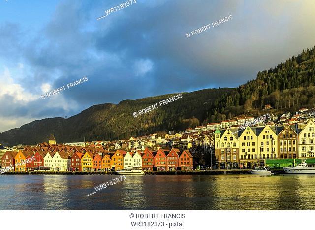 Hanseatic wooden waterfront commercial buildings of Bryggen (the dock), UNESCO World Heritage Site, Bergen, Hordaland, Norway, Scandinavia, Europe