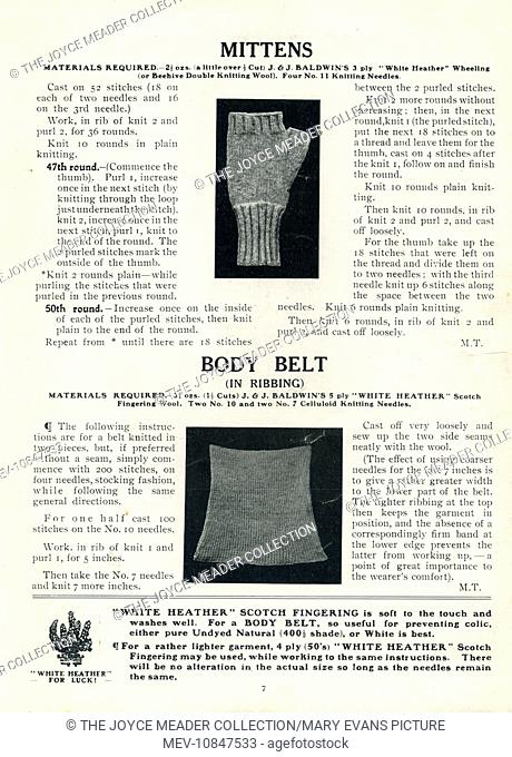 Patterns for mittens and a body belt (designed to keep the midriff warm), two items of clothing which could be knitted for soldiers at the front featured in a...