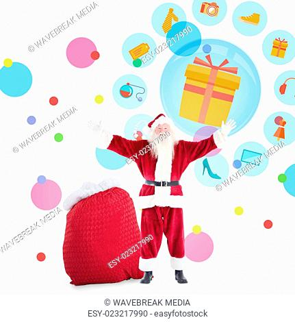 Composite image of happy santa with sack of gifts