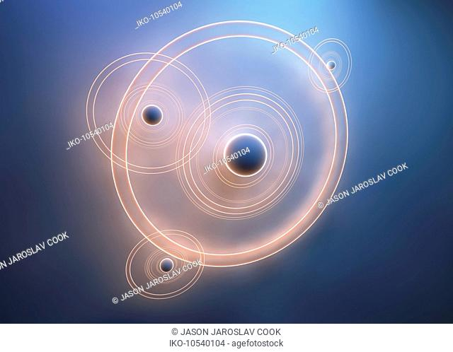 Spheres with overlapping orbiting concentric circles