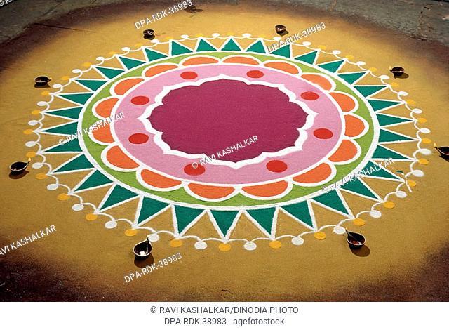 rangoli drawn for Diwali deepawali Festival , india
