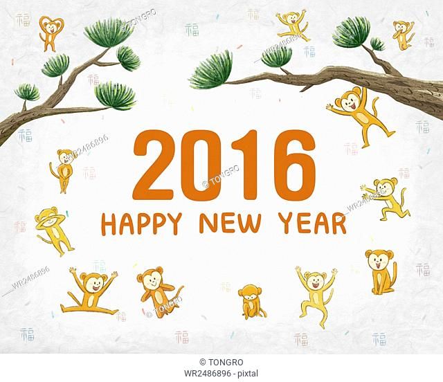 New year's greeting card with monkeys and pine trees