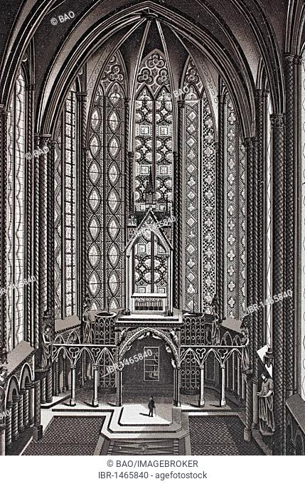 Interior of the La Sainte Chapelle, historic copper-plate etching, from around 1890, Neal's, Paris, France, Europe