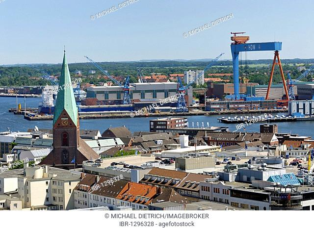 View over the city of Kiel, the Nikolai Church on the Old Market and the HDW shipyard in the inner fjord, Schleswig-Holstein, Germany, Europe