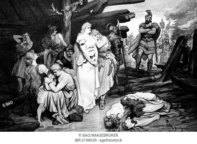 Female German prisoners at a Roman camp, historic wood engraving, about 1897