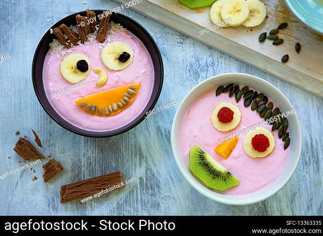 Smiley yoghurt faces