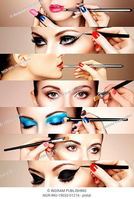 Beauty collage. Faces of women. Fashion photo. Makeup artist applies lipstick and eye shadow