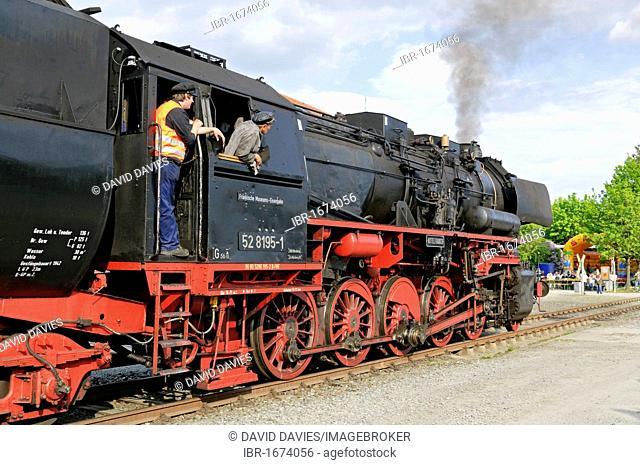 Class 52 steam locomotive at the German steam locomotive museum, Neuenmarkt, Franconia, Bavaria, Germany, Europe