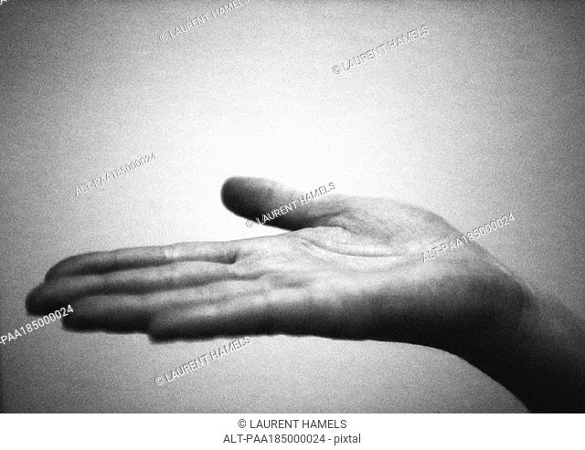 Hand with palm up, close-up, b&w