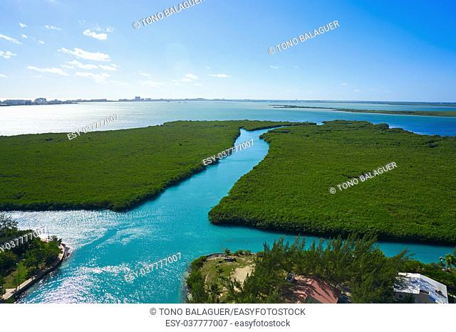 Cancun aerial view of Nichupte Lagoon at Hotel Zone in Mexico