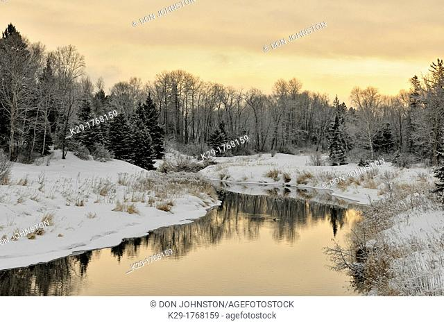 Shoreline of Junction Creek in early winter, Greater Sudbury Lively, Ontario, Canada