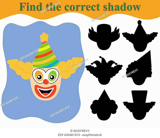 Clown's face, find the correct shadow. Educational game for children