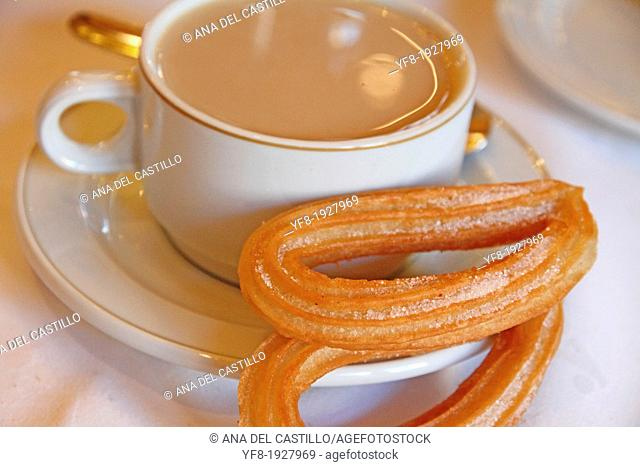 Churros fried crullers spanish flour fritters and coffee