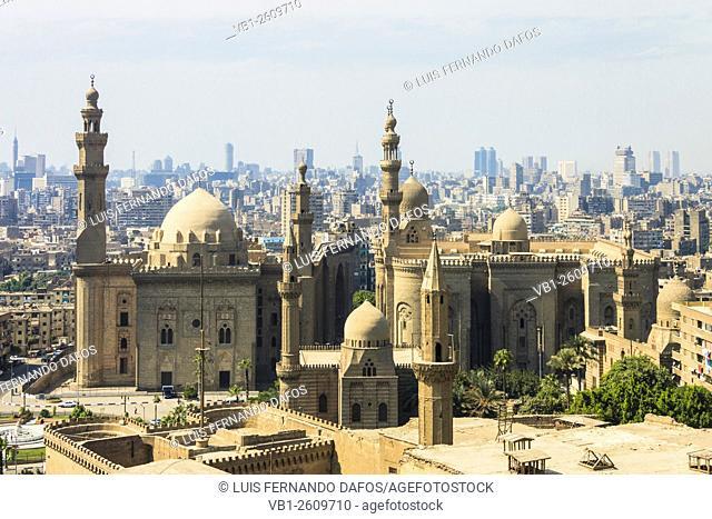 Sultan Hassan Madrassa and Al Rifai mosque from the Citadel. Cairo, Egypt