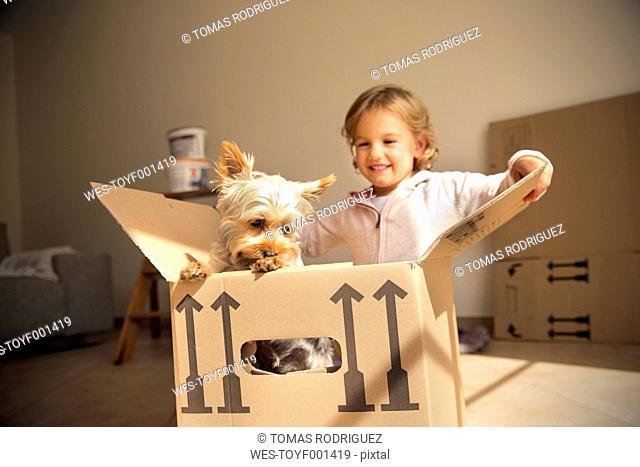 Smiling girl with dog inside cardboard box