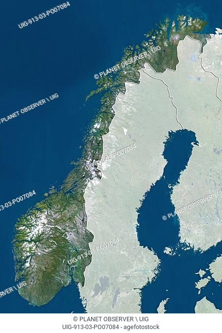 Satellite view of Norway (with country boundaries and mask). This image was compiled from data acquired by Landsat satellites