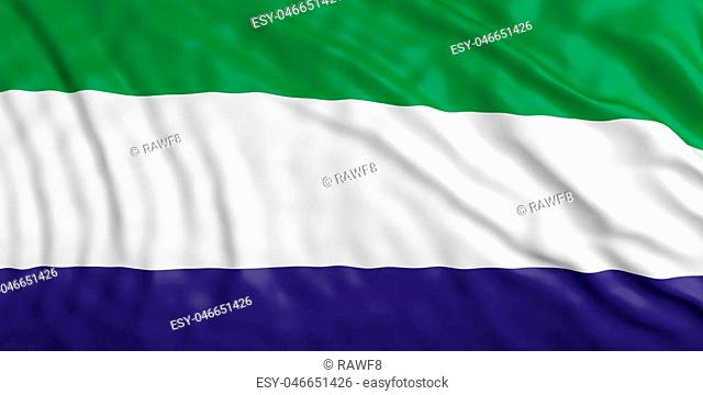 Waiving in the wind flag of Sierra Leone. 3d illustration