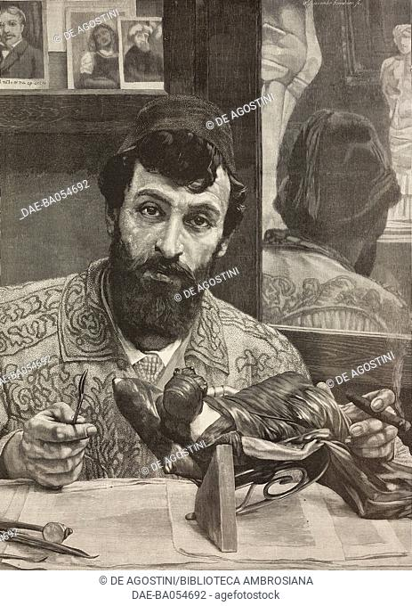 Portrait of the Italian sculptor Giovanni Battista Amendola (1848-1887), from a painting by Lawrence Alma-Tadema, illustration from L'Illustration