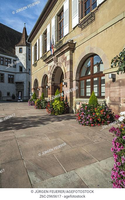 guildhall and Les Ateliers de la Seigneurie, village Andlau, foothills of the Vosges Mountains, on the Wine Route of Alsace, France
