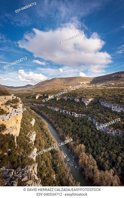 Landscape of Ebro river canyon at sunset in Burgos, Castilla y Leon, Spain