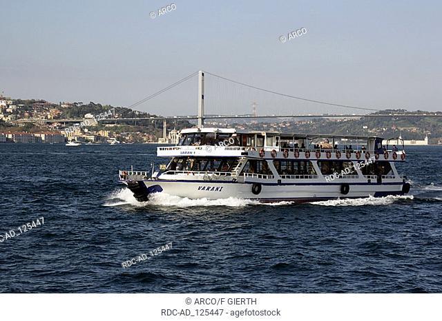 Excursion boat on Bosporus Istanbul Turkey