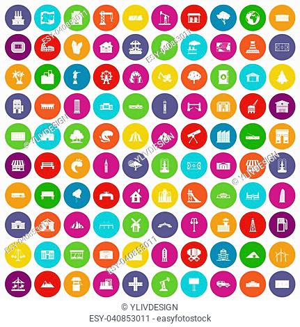 100 landscape element icons set in different colors circle isolated illustration
