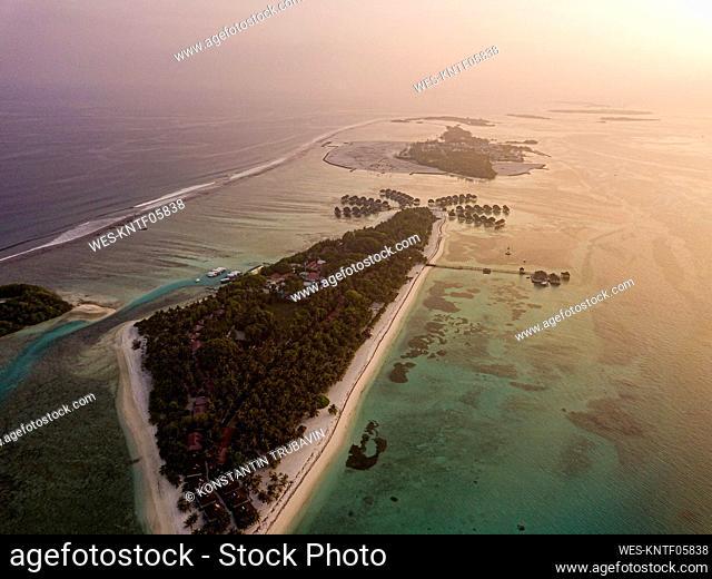 Aerial view of Huraa island at sunset , Maldives