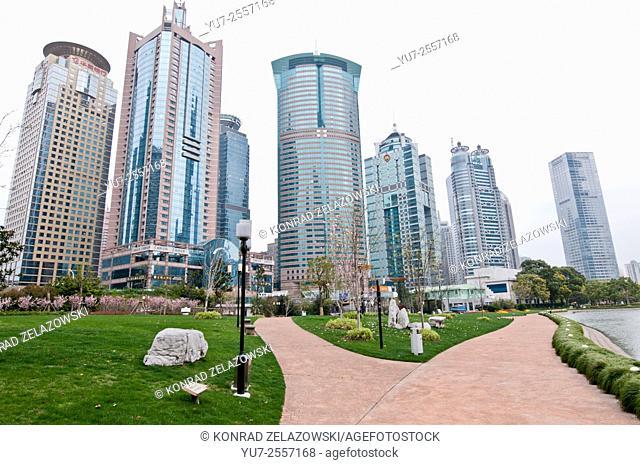 From left: Hua Xia Bank Tower, Huaneng Union Mansion, New Shanghai International Building, World Finance Tower, China Merchants Tower