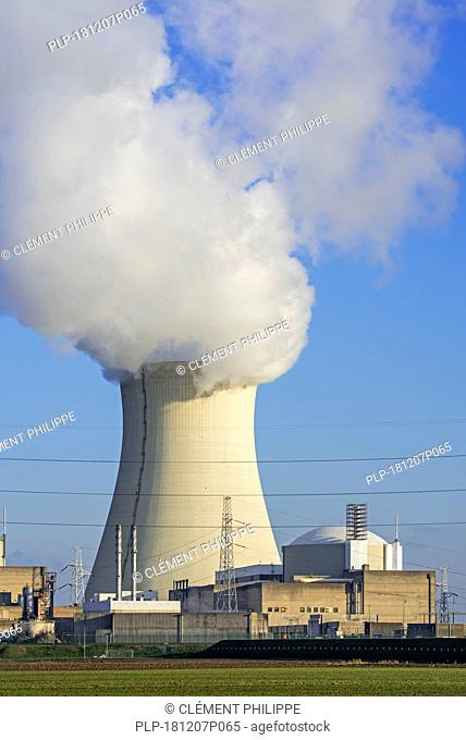 Cooling tower of the Doel Nuclear Power Station / nuclear power plant in the Antwerp harbour, Flanders, Belgium