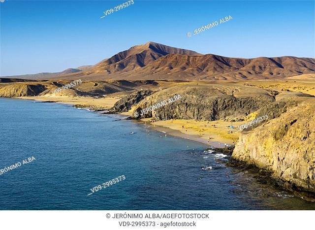 Punta de Papagayo beach, Playa Blanca. Lanzarote Island. Canary Islands Spain. Europe