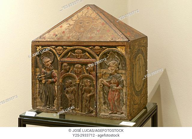 Provincial museum, Polychrome wood tabernacle (16th century), Lugo, Region of Galicia, Spain, Europe