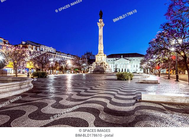 Rossio Square illuminated at night, Lisbon, Lisbon, Portugal