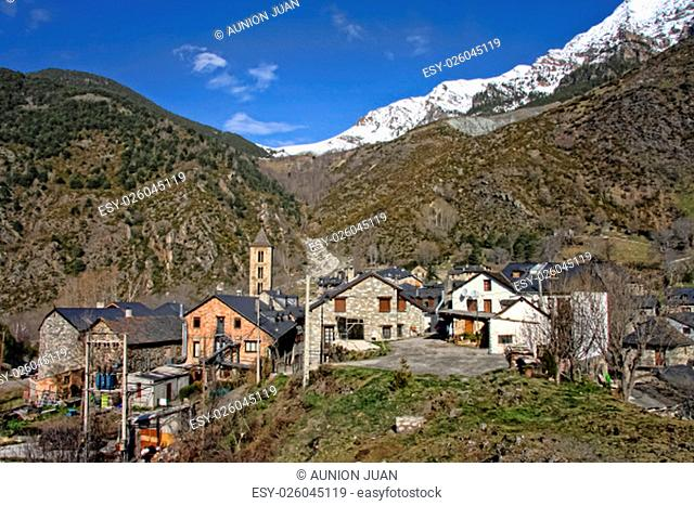 Erill la Vall village at The Vall de Boi, a narrow, steep-sided valley and a small municipality in the province of Lleida