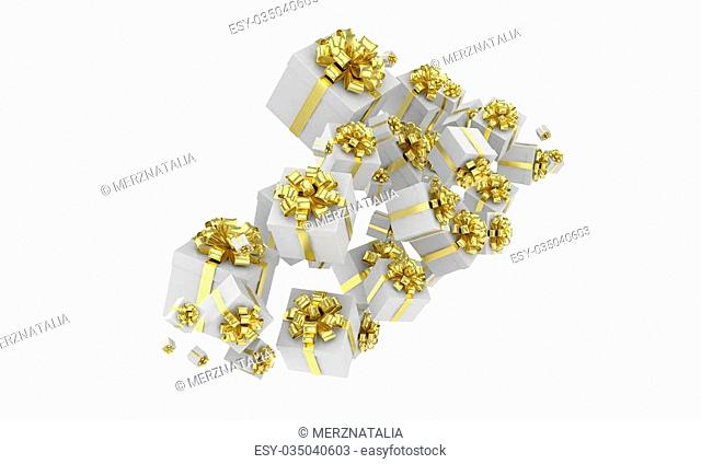 flying gift boxes on white. 3d rendering