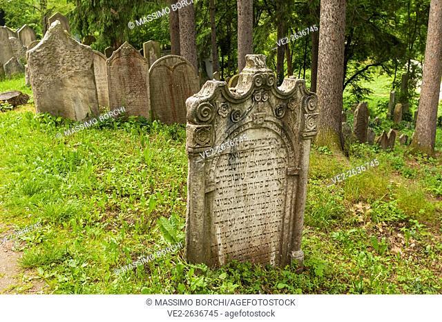 Jewish Town, tomb in the Jewish Cemetery (UNESCO World Heritage), Trebic, Moravia, Czech Republic
