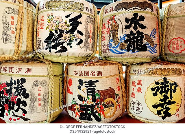 Sake barrels inside the Itsukushima sanctuary, Miyajima island, Japan