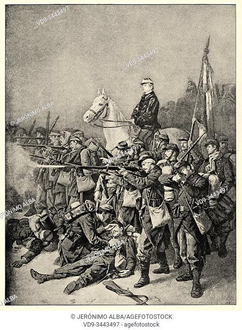 The Province during the War of 1870-71. General Chanzy, the army of the Loire 1870. History of France, old engraved illustration image from the book Histoire...