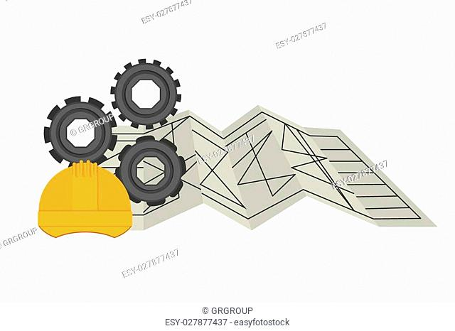Under construction design over white background, vector illustration
