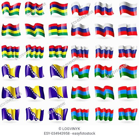 Mauritius, Russia, Bosnia and Herzegovina, Karelia. Set of 36 flags of the countries of the world. Vector illustration