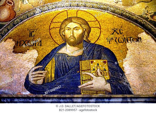 Mosaic of Christ Pantocrator  in the lunette over the doorway to the esonarthex (14th century), Church of the Holy Saviour in Chora or Kariye Camii, Istanbul