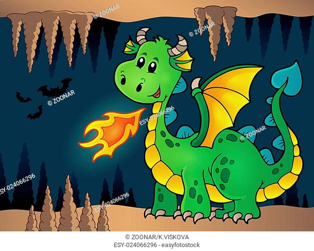 Cave with green happy dragon - picture illustration