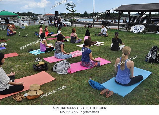 Kadena, Okinawa, Japan: yoga class during the Vegan Food Fest