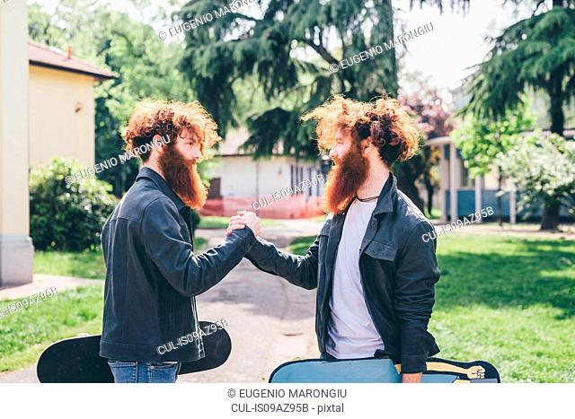 Young male hipster twins with red beards shaking hands in park