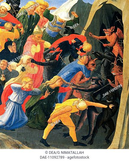 Hell with the demons organising the damned, detail from The Last Judgement, 1431, by Giovanni da Fiesole known as Fra Angelico (1400-ca 1455), tempera on wood