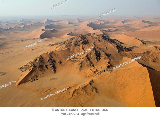 Aerial view of the dunes of the Namib Naukluft, the oldest desert in the world. Namibia
