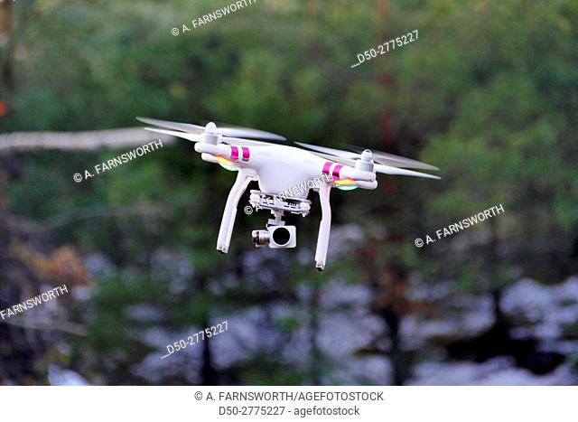 Sweden, Stockholm, Flying drone with camera