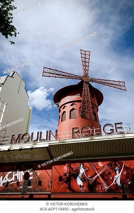 facade of Moulin Rouge cabaret in Paris