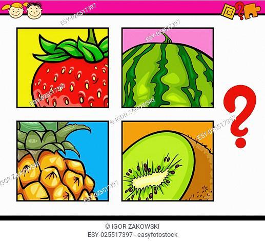 Cartoon Illustration of Education Task for Preschool Children od Guess the Fruits