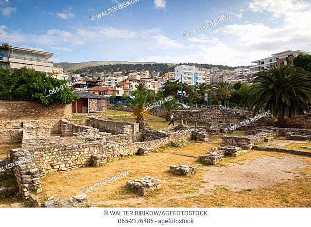 Albania, Albanian Riviera, Saranda, ruins of 5th century synagogue