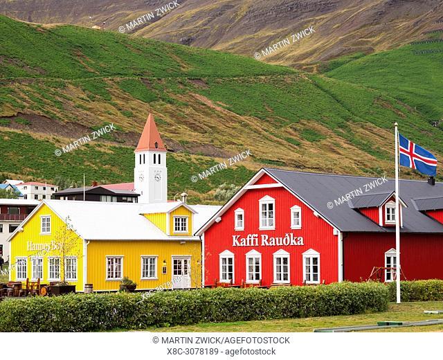 Siglufjoerdur on the Trollaskagi peninsula in iceland. europe, northern europe, iceland, september